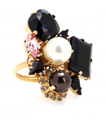 #Erdem - Gold-plated Swarovski crystal and pearl-embellished ring