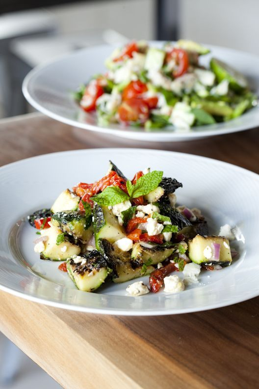 Grilled zucchini salad w/ feta, mint and roasted red peppers.