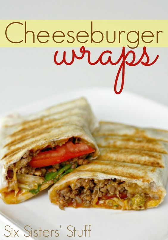 Cheeseburger Wraps from SixSistersStuff.com- all the delicious taste of a cheeseburger wrapped up! Make GFSF bread or wrap