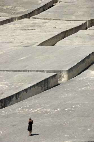 concrete land art in gibellina, sicily, by alberto burri.