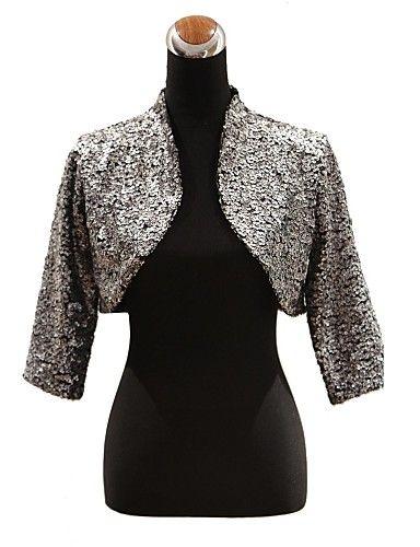 Elegant 3/4-Length Sleeve Sequined Special Occasion Evening Jacket / Wrap Bolero Shrug – GBP £ 21.89