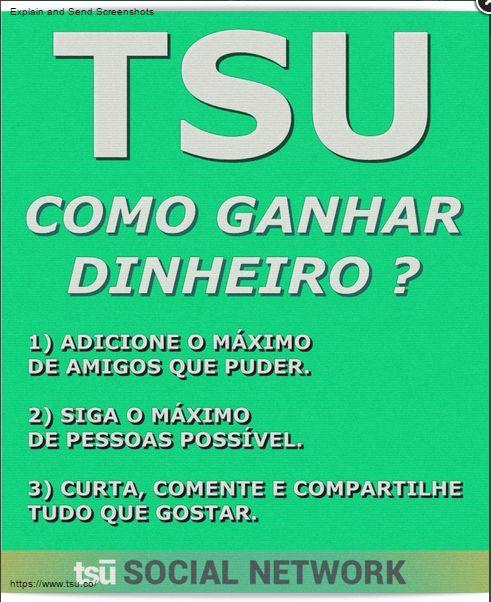 TSU NOVA REDE SOCIAL CONFERENCIA BEM EXPLICATIVA SOBRE CADASTRO E GANHOS.!!