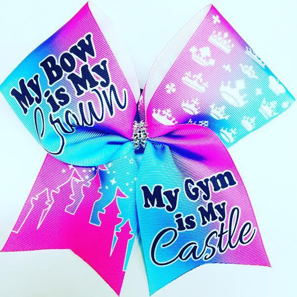 Bows by April - My Bow is My Crown My Gym is My Castle Pink and Blue Sublimated Cheer Bow, $15.00 (http://www.bowsbyapril.com/my-bow-is-my-crown-my-gym-is-my-castle-pink-and-blue-sublimated-cheer-bow/)