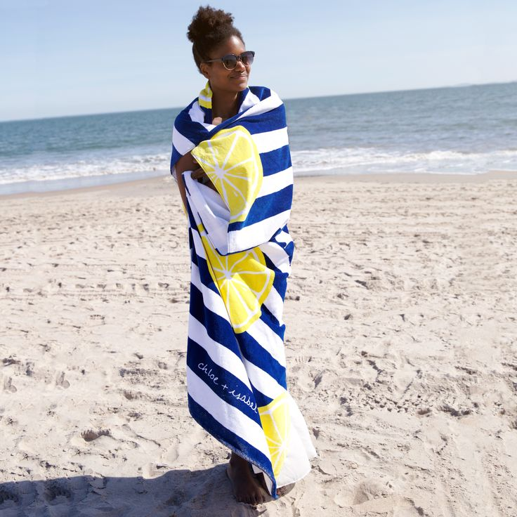 The Limoncello oversized beach blanket will wrap all a-rind you.