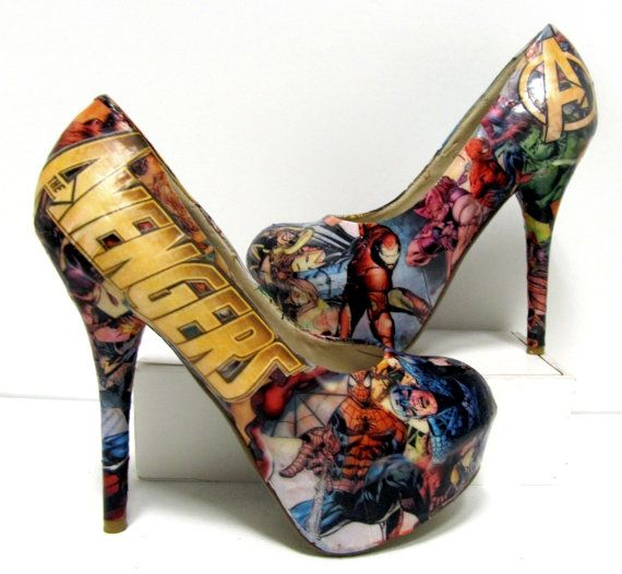 Cool shoes! :) Avengers Comic Book High Heels, $70.00 #shoes #highheels