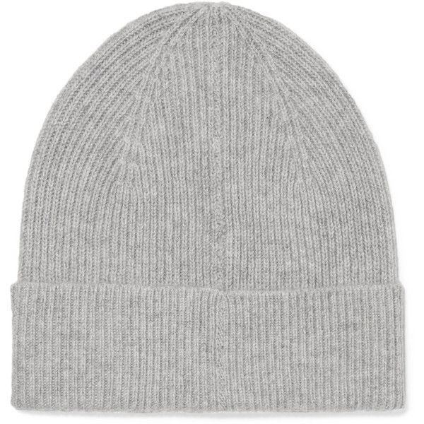 Isabel MarantChilton Ribbed Cashmere Beanie (£140) via Polyvore featuring accessories, hats, grey, beanie cap hat, gray hat, gray beanie, grey beanie hat and fold beanie