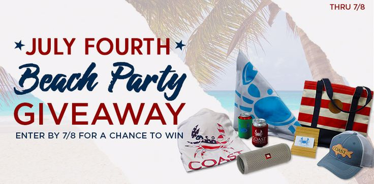 Enter by 7/8 for a chance to win a Beach Party Prize Pack worth over $360! Prize includes: - JBL Flip 4 waterproof bluetooth speaker - COAST tote - COAST American Crab shirt - Trucker Hat - 2 can coolers - COAST flag - PLUS a $100 gift card to CoastApparel.com