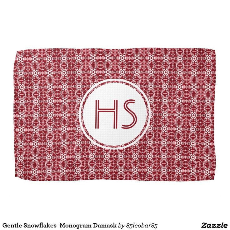 Gentle Snowflakes  Monogram Damask Hand Towel