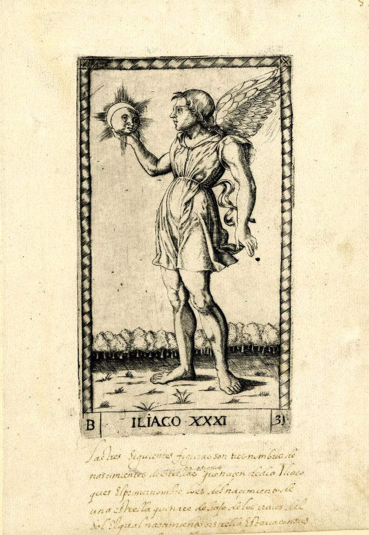 WL male figure, winged, standing in a landscape, his head in profile to l; looking at the sun-face he is holding in his r hand; after the so-called Tarocchi Cards of Mantegna.  Engraving