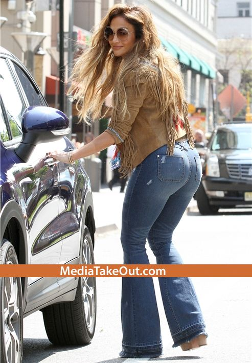 Jennifer Lopez STILL GOT THEM CAKES . . . She Wore TIGHT HIPPIE JEANS . . . On The Set Of Her New Video . . . And Her Body Looks SPECTACULAR!!