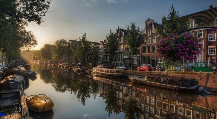 Man Made Amsterdam Reflection City Car Boat Sunrise House