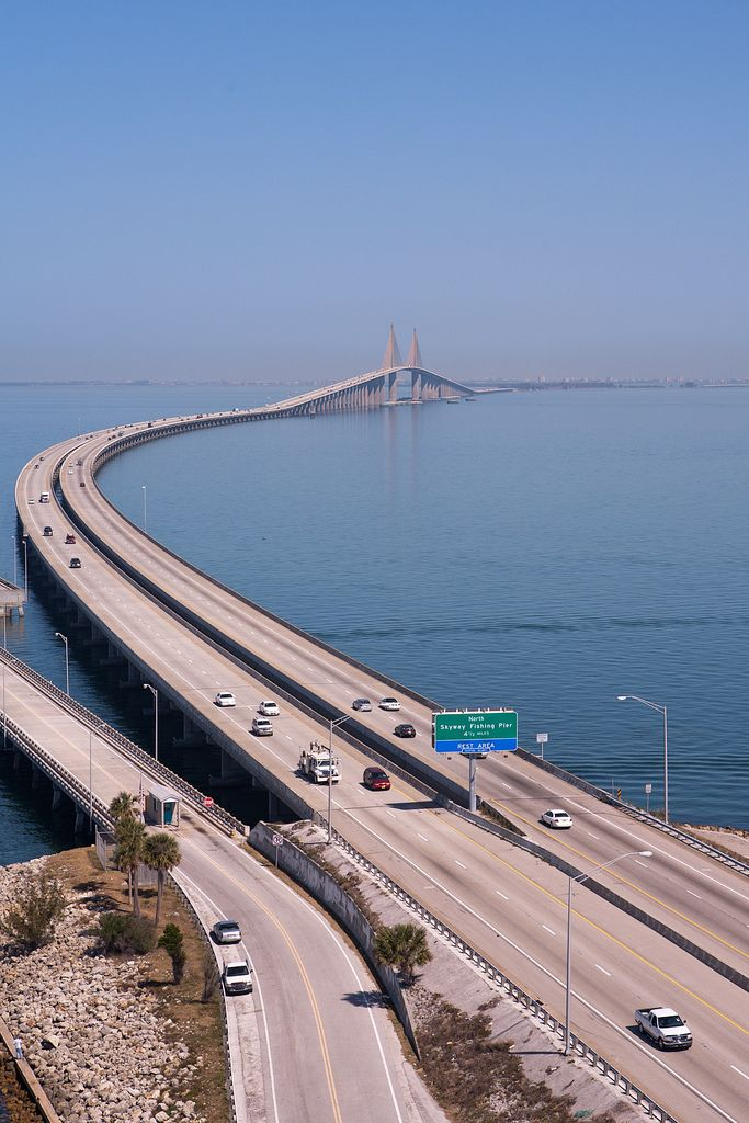 The Bob Graham Sunshine Skyway Bridge is a bridge spanning Tampa Bay, Florida, with a cable-stayed main span, and a total length of 4.1 miles. It connects St. Petersburg in Pinellas County, Florida and Terra Ceia in Manatee County, Florida, passing through Hillsborough County, Florida waters.