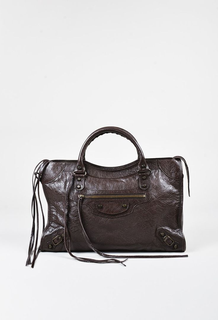 Balencia dark brown leather 5 pc living room leather living rooms - Balenciaga Charbon Brown Distressed Leather Classic City Satchel Bag