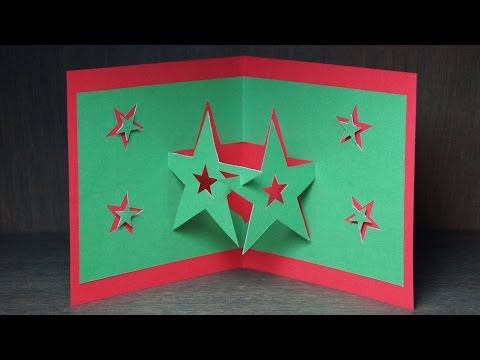 basteln zu Weihnachten: Pop Up Karten selber basteln / Pop Up Sterne Karte - YouTube