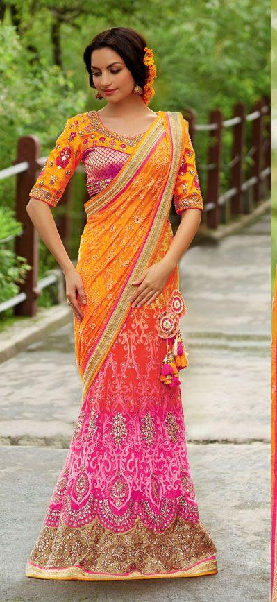 Orange and Pink Designer Lehenga Saree  40315