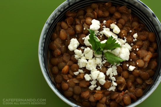 Poor Man's Lentils - similar to my Grandma's recipe I think...minus the feta cheese :-)