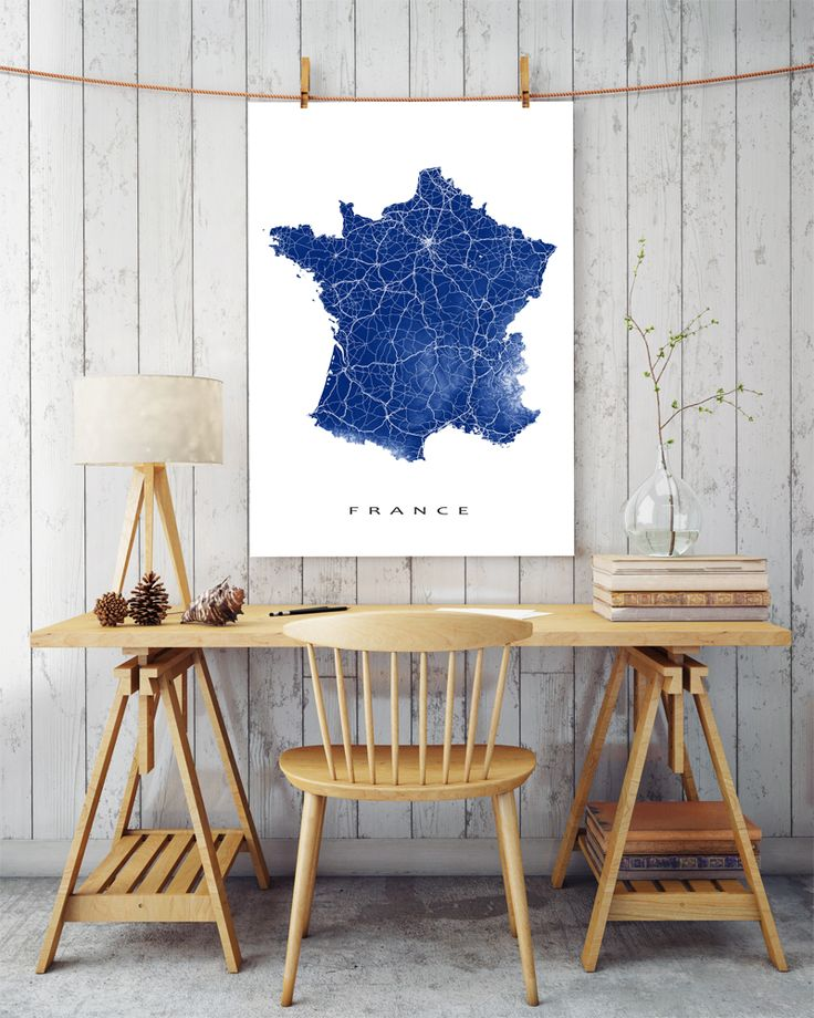 France landscape map print at your office