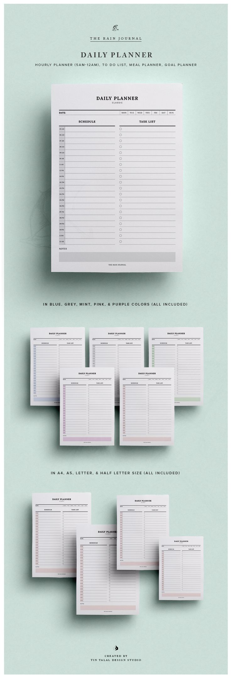 Daily Schedule Printable w/ Hourly Planner & Daily To Do List | Daily Agenda | Daily Planner Printable | Planner Inserts - Classic | Fit for Kikki K Large and A5 Filofax. This To Do List Planners can be inserted in your favorite planner!