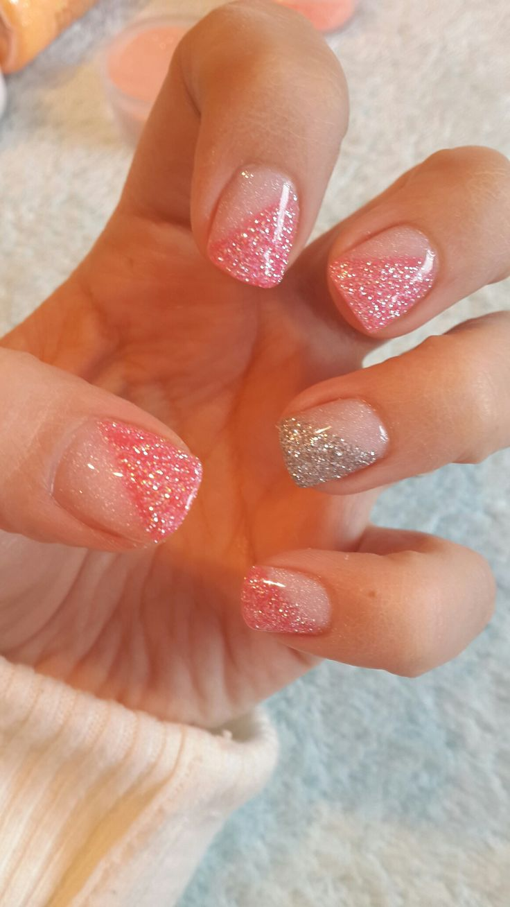 Pink glitter and clear glitter colour acrylic