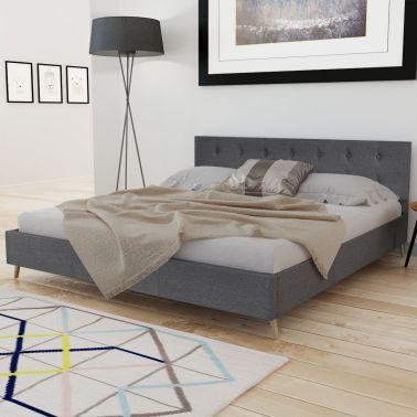Cama de madeira de tecido, 200 x 180 cm, cinzento escuro[3/8]