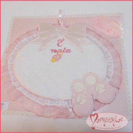 Fiocco nascita coccarda ricamato bimba color rosa scarpette da ballo ovale