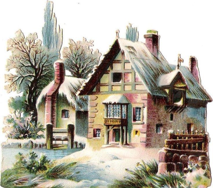 Oblaten Glanzbild scrap die cut chromo Winter Haus house Schnee snow  hiver
