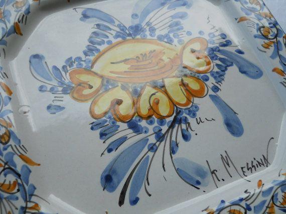 piatto murale ottagonale di ceramichemessina su Etsy