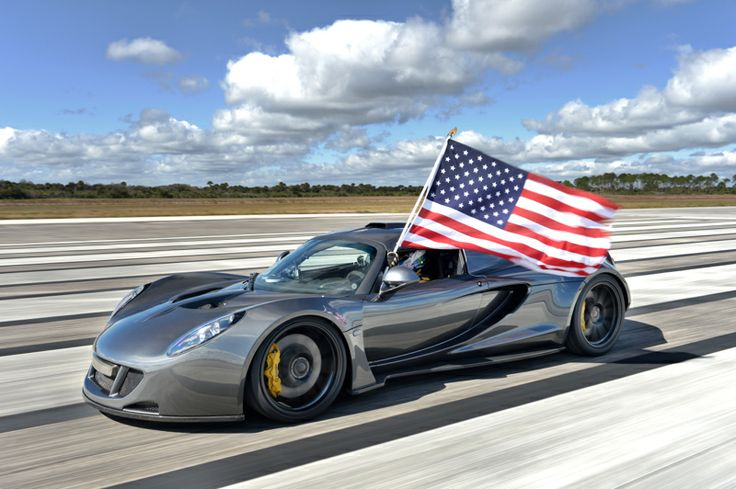 Meet the only car that that can pass the Bugatti Veyron Super Sport.  The Hennessey Venom GT broke the speed record for a production car, hitting 270.49 mph earlier this month during a run on the former space shuttle landing strip at Kennedy Space Center in Florida.  That tops the 269.86 mph mark set by the Veyron -- a difference of just 0.63 mph, but Hennessey says the Venom was still accelerating at 1 mph per second when it had to stop as it approached the end of the runway.
