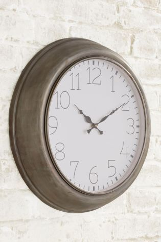 Large Profile Metal Grey Clock