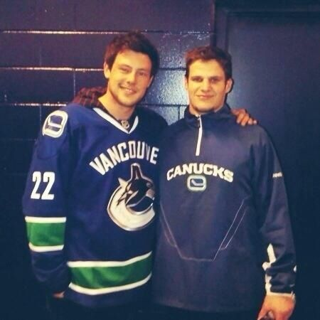 Cory Monteith and Kevin Bieksa (Vancouver Canucks).  We'll miss you Cory.  RIP.