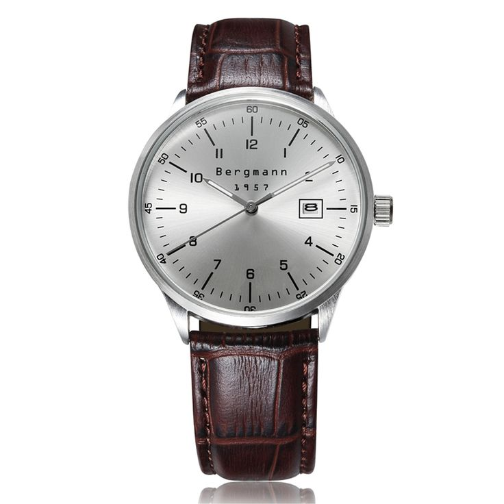 62.40$  Buy now - http://aliy8i.worldwells.pw/go.php?t=1605209051 - Brand Bergmann Original Bauhaus style Casual Business Watches Men Silver Dial Genuine Leather Date Gift Clock Reloj Hombre 62.40$