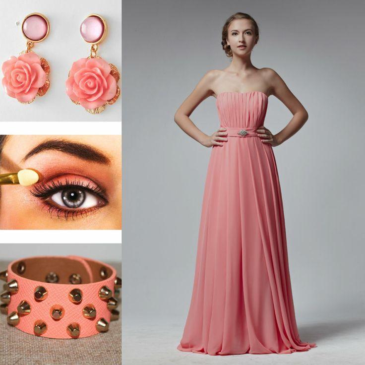 fa6e9c7ce5fe Vestiti Da Cerimonia Lunghi In Chiffon ~ Pink abiti da damigella chiffon  lunghi fashion