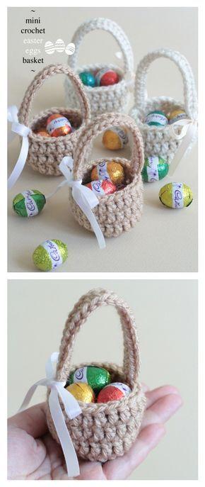 Crochet Mini Easter Eggs Basket Free Pattern