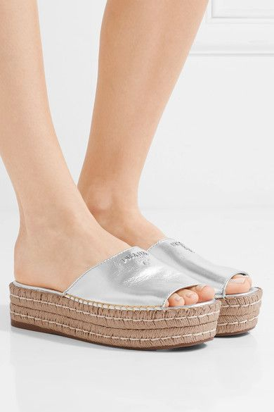 Prada - Embellished Metallic Leather Espadrille Sandals - Silver - IT39.5