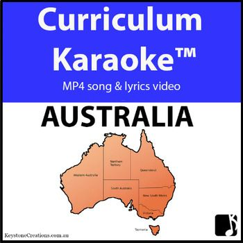 Students READ / SING & LEARN along as the curriculum-aligned song plays and lyrics display on your classroom whiteboard and other technological devices!  'AUSTRALIA' (Middle/Upper Primary), is acurriculum-aligned song that discusses such things as states, capital cities, seas, islands, rivers, significant places, sites & environments, Aboriginal place names, etc. http://www.teacherspayteachers.com/Product/AUSTRALIA-Curriculum-Karaoke-MP4-Song-Lyrics-for-Whiteboard-3333172