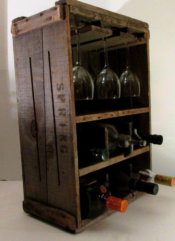 Casier à vin rustique Primitive - coffret bois - Vintage New England canneberge Crate - décor minable