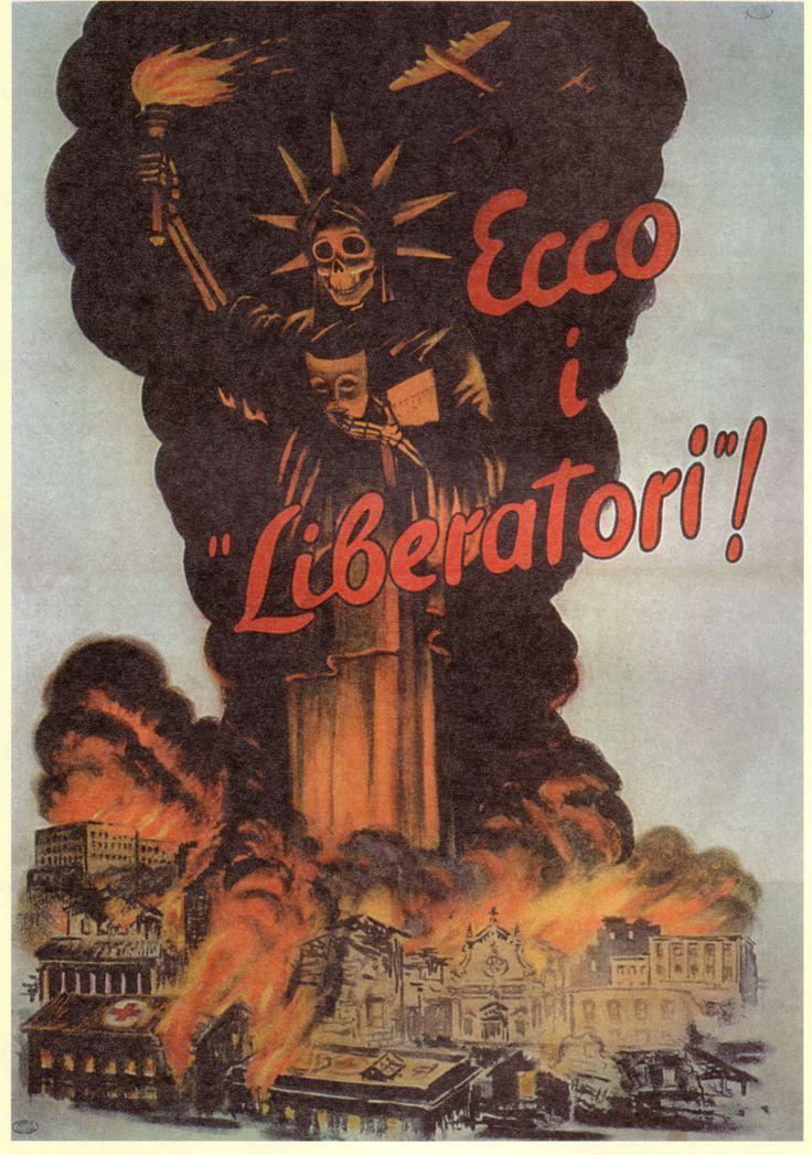 Manifesto di propaganda bellica della Repubblica Sociale Italiana (1944) volto a denunciare i bombardamenti terroristici effettuati dagli anglo-americani sulle città italiane. Autore ignoto. La sta…