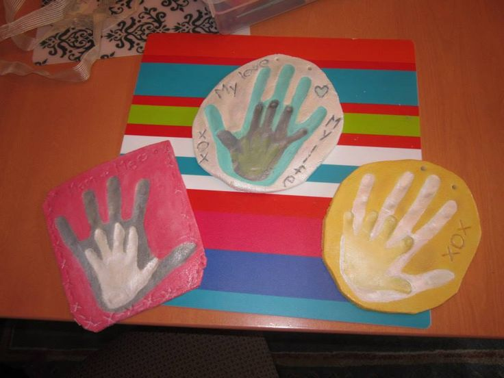 2 cups flour, 1 cup salt, water, mix to play doh consistency. Press in adults hand, then childs hand. Decorate border with impressions as desired, and add holes for hanging. Bake @ 250 degrees for 2 hours. Paint & preserve with clear gloss, and string up with ribbon.