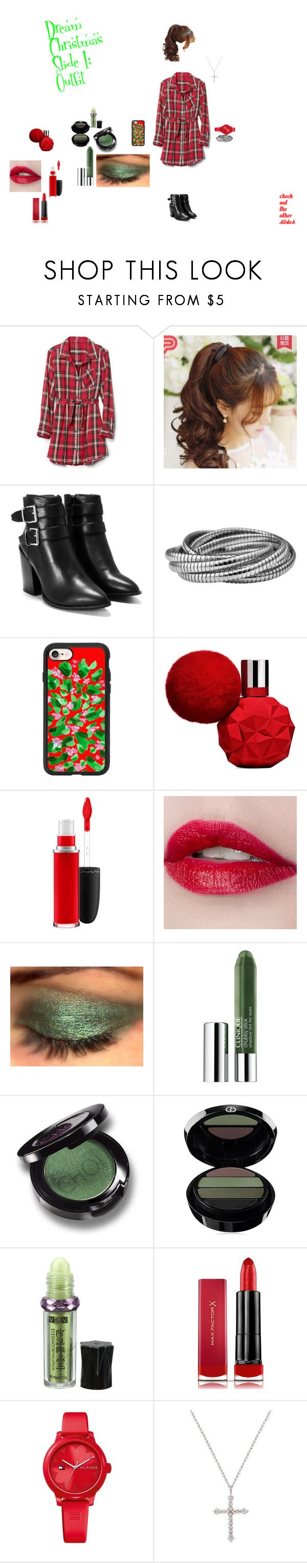 """""""Christmas Slide 1"""" by american2000s ❤ liked on Polyvore featuring Pin Show, Nasty Gal, Casetify, MAC Cosmetics, Clinique, Christina Choi Cosmetics, Giorgio Armani, Max Factor, Tommy Hilfiger and GetReadyForChristmasWithUs"""
