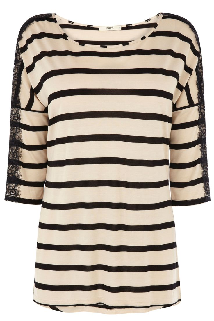 Lace Stripe Drop Sleeve T-Shirt | Multi | Oasis Stores