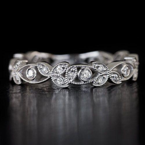 Diamond Art Deco Bezel Wedding Band Floral by IvyandRoseVintage