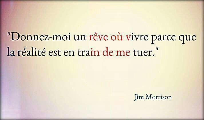 Donnez-moi un rêve où vivre parce que la réalité est en train de me tuer - Jim Morrison