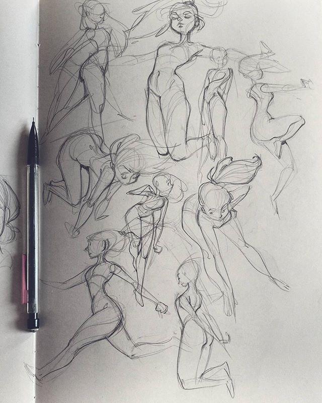 Practicing poses in my new moleskine sketchbook