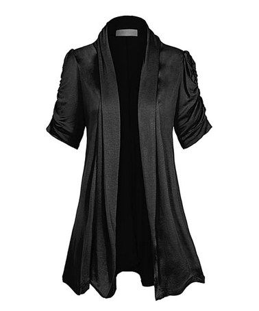 Loving this Midnight Dream Ruched-Sleeve Short-Sleeve Cardigan - Plus Too on #zulily! #zulilyfinds