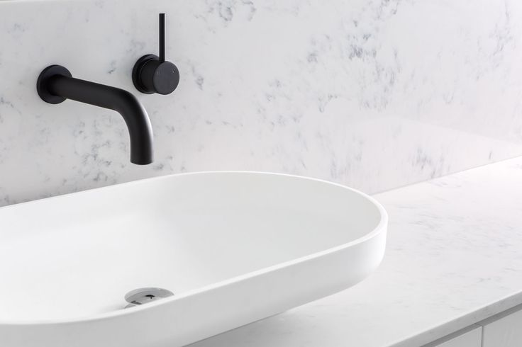 The OMVIVO Venice 700 basin is such a beautifully designed basin suitable for all bathroom spaces. It works perfectly with contrasting tapware as well!   Joncol | SINGLE STOREY EXTENSION, Ascot Vale
