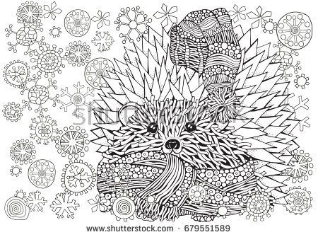 pattern for coloring book prickly hedgehog with xmas snowflakes hand drawn elements in - Coloring Book Patterns