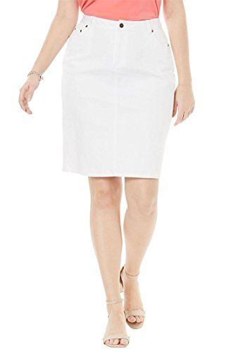 3e2fc23e760 Jessica London Womens Plus Size True Fit Denim Short Skirt White Denim14    Click for more Special Deals   Fashion LadiesFashion WomenFashion Outfits Shopping