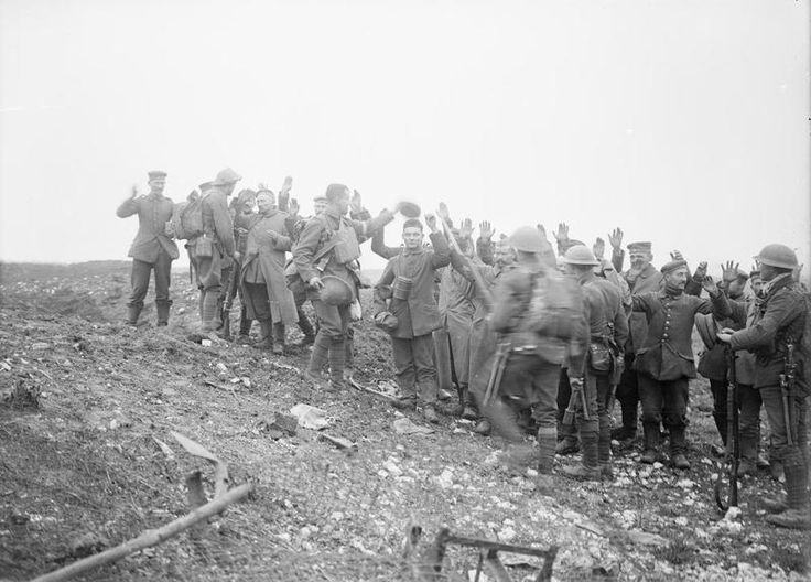 German prisoners near Havrincourt, 20 November 1917 Men of 11th Battalion, Royal Irish Fusiliers shepherd a group of German prisoners near Havrincourt of the first day of the Battle of Cambrai. The opening day of the attack saw rapid and substantial gains, including the taking of sections of the Hindenburg Line and the village of Havrincourt. These men were among over 4,000 German soldiers taken prisoner on 20 November.