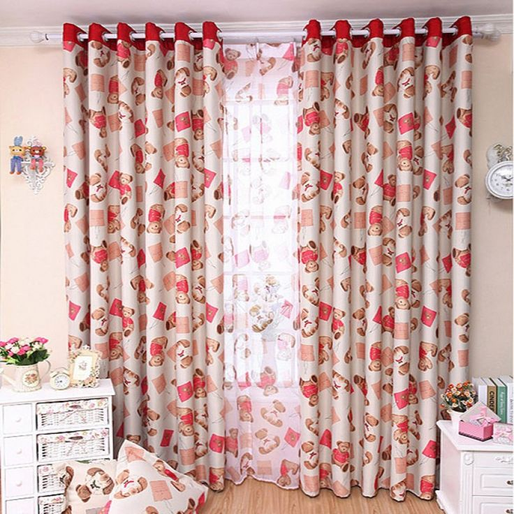 Blackout Cartoon Curtain for Children's Room - Red Teddy