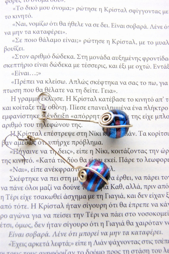 Wire earrings lambwork bead by RenatasArt on Etsy, €10.00